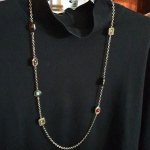 "1928 Antique Gold Chain with ""gemstone"" stations."
